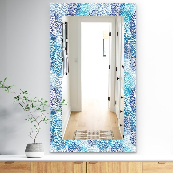 Designart 'Sea Motif Pattern' Traditional Mirror - Wall Mirror - Blue