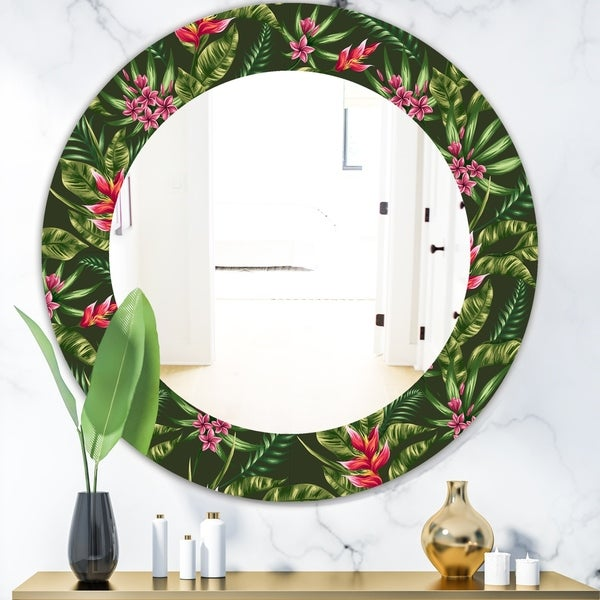 Designart 'Obsidian Bloom 14' Bohemian and Eclectic Mirror - Oval or Round Wall Mirror - Green