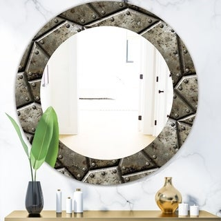 Designart 'Armor Texture' Bohemian & Eclectic Mirror - Oval or Round Wall Mirror