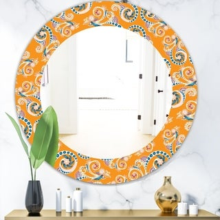 Designart 'Ornamental Floral Pattern With Flowers' Mid-Century Mirror - Oval or Round Wall Mirror - Orange