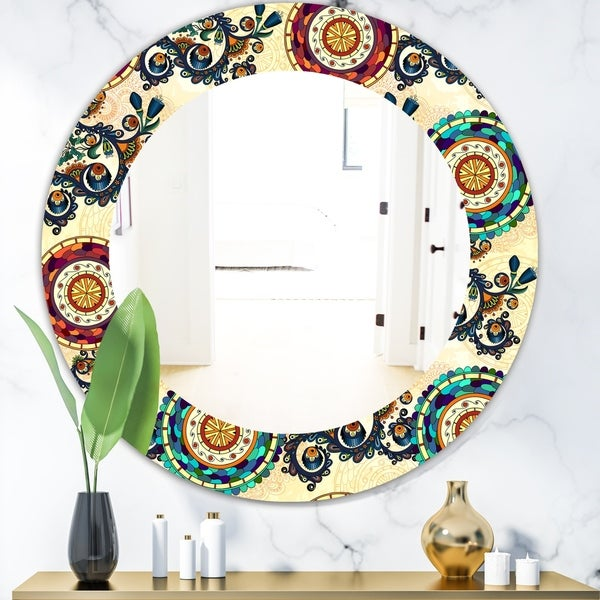 Designart 'Floral Paisley Ethnic' Bohemian and Eclectic Mirror - Oval or Round Wall Mirror - Gold
