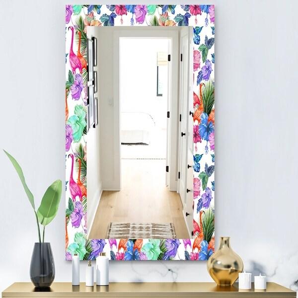 Designart 'Flamingo 2' Bohemian and Eclectic Mirror - Vanity Mirror - Purple