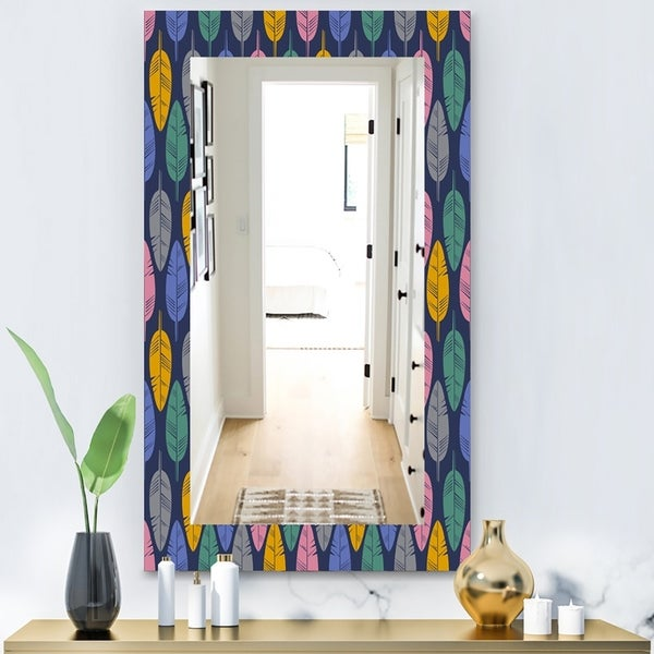 Designart 'Pattern Of Multicolored Feathers' Bohemian and Eclectic Mirror - Vanity Mirror - Blue