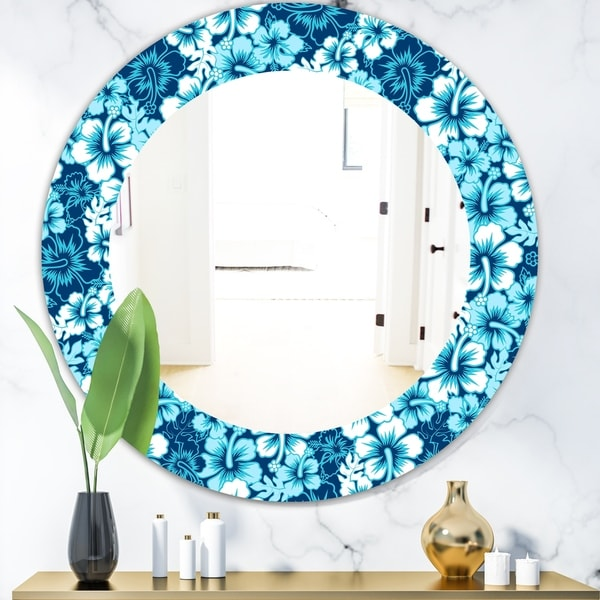 Designart 'Indigo HawaII Flowers Pattern' Bohemian and Eclectic Mirror - Oval or Round Wall Mirror - Blue