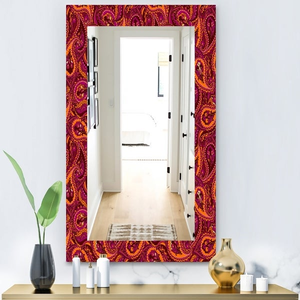 Designart 'Paisley 12' Bohemian and Eclectic Mirror - Wall Mirror - Red