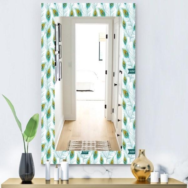 Designart 'Peacock Feather' Modern Mirror - Vanity Mirror - White