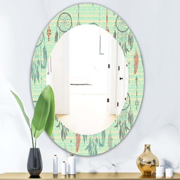 Designart Feathers 22 Bohemian And Eclectic Mirror Oval Or Round Wall Mirror Blue On Sale Overstock 28558514