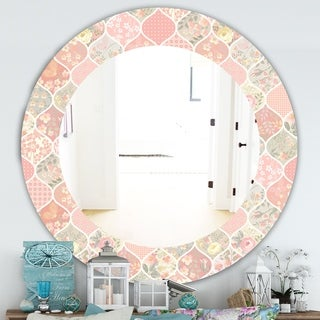 Designart 'Pink Blossom 24' Traditional Mirror - Oval or Round Wall Mirror - Pink