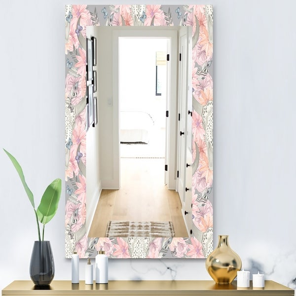 Designart 'Pink Blossom 25' Bohemian and Eclectic Mirror - Modern Wall Mirror - Pink