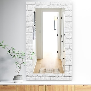 Designart 'Stone 3' Traditional Mirror - Vanity Mirror - Grey