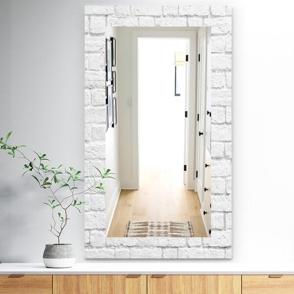 Designart 'Stone 3' Traditional Mirror - Vanity Mirror - Grey