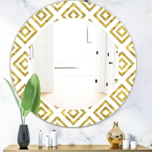 Designart 'Capital Gold Honeycomb 1' Mid-Century Mirror - Oval or Round Wall Mirror