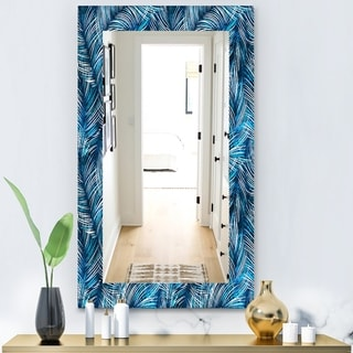 Designart 'Tropical Palm Leaves' Bohemian and Eclectic Mirror - Vanity Mirror - Blue