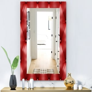 Porch & Den [Mirror] Leather Print III' Modern Wall Mirror - Red
