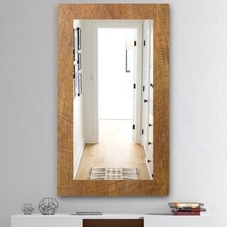 Designart 'Wood II' Mid-Century Mirror - Wall Mirror - Brown