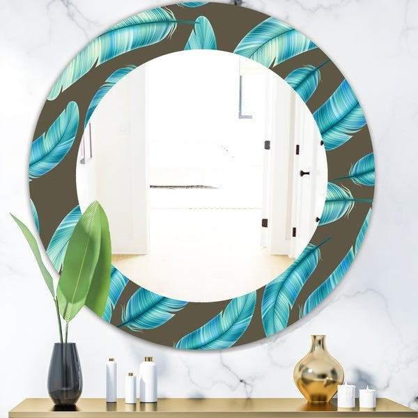 Designart 'Feathers 27' Mid-Century Mirror - Oval or Round Wall Mirror - Blue