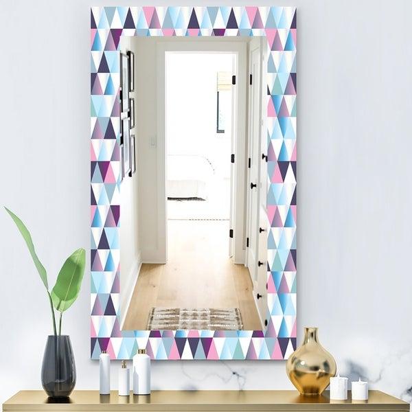 Designart 'Triangular Colourfields 13' Modern Mirror - Wall Mirror - Blue