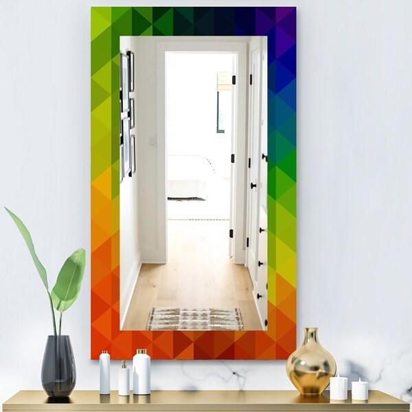 Designart 'Triangular Colourfields 20' Modern Mirror - Wall Mirror - Orange