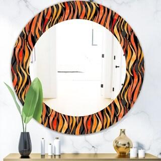 Designart 'Fire Flame Pattern' Modern Mirror - Oval or Round Wall Mirror - Black