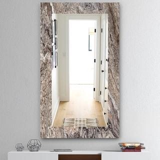 Designart 'Onyx Travertine Tile' Mid-Century Mirror - Vanity Mirror - Grey/Silver