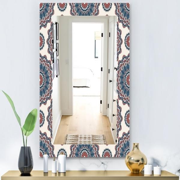 Designart 'Oriental Pattern' Bohemian and Eclectic Mirror - Modern Wall Mirror - Blue