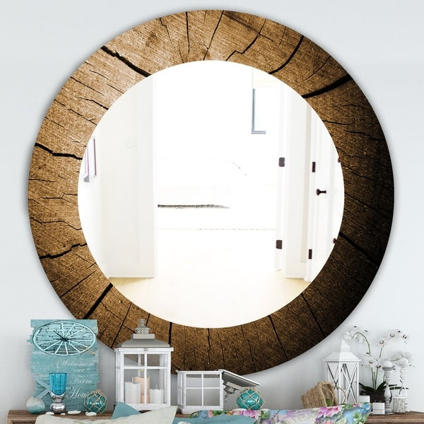 Designart 'Wood Curve' Traditional Mirror - Oval or Round Wall Mirror - Brown