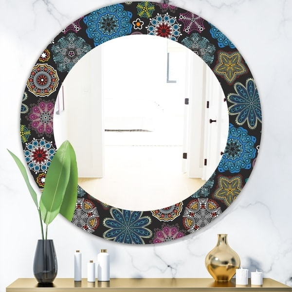 Designart 'Ornate Floral Texture' Bohemian and Eclectic Mirror - Oval or Round Wall Mirror - Black