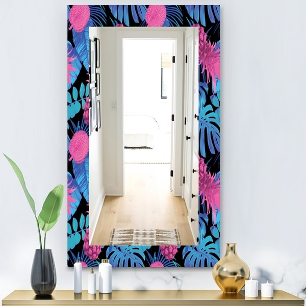 Designart 'Tropical Mood Blue 8' Bohemian and Eclectic Mirror - Vanity Mirror - Black
