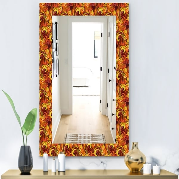 Designart 'Beautiful Golden Orange & Red Peacock Feathers' Bohemian & Eclectic Mirror - Modern Wall Mirror - Gold