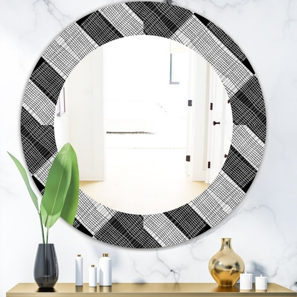Designart 'Black and White Check Stipes Pattern' Modern Mirror - Oval or Round Wall Mirror - Black