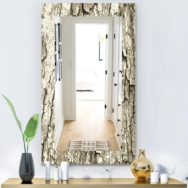 Designart 'Vintage Tree Bark' Bohemian and Eclectic Mirror - Vanity Mirror - Grey/Silver