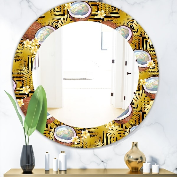 Designart 'Tropical Pattern With Coconuts and Flowers' Bohemian and Eclectic Mirror - Oval or Round Wall Mirror - Gold