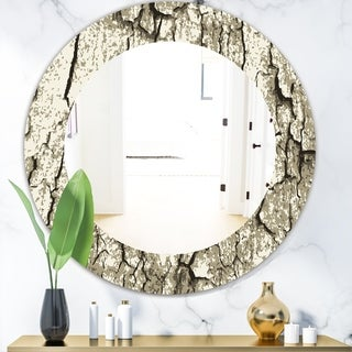 Designart 'Vintage Tree Bark' Bohemian and Eclectic Mirror - Oval or Round Wall Mirror - Grey/Silver