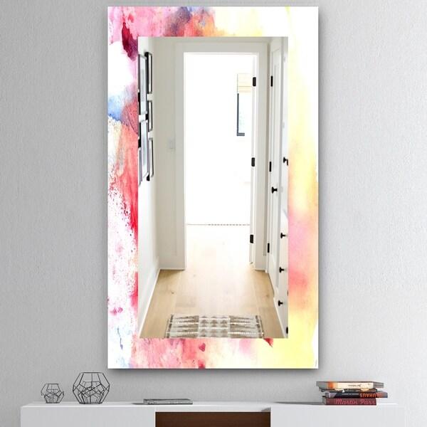 Designart 'Pink Abstract' Mid-Century Mirror - Wall Mirror - Pink