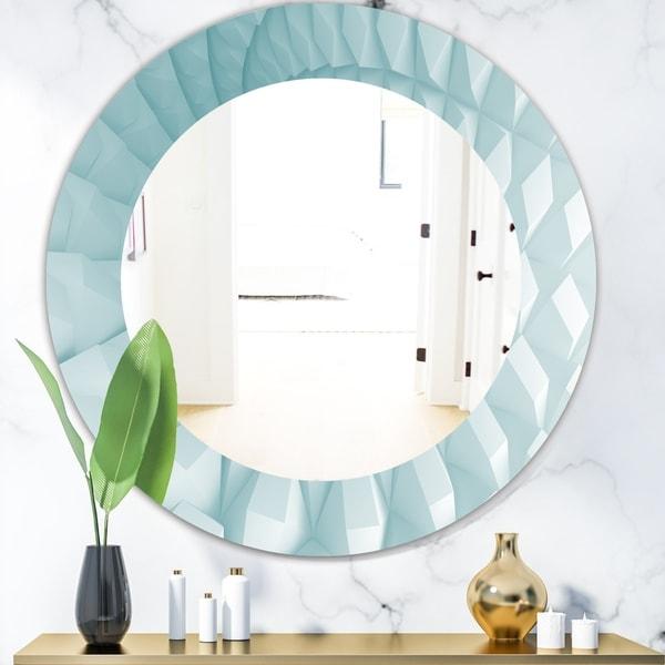 Designart 'Light Blue Waves 3' Modern Mirror - Oval or Round Wall Mirror