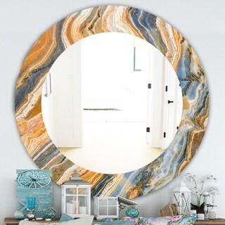 Designart 'Marbled Geode 4' Traditional Mirror - Oval or Round Wall Mirror - Orange