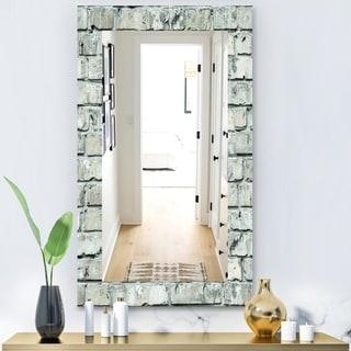 Designart 'Stone 2' Modern Mirror - Wall Mirror - Blue