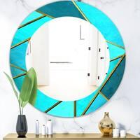 Designart 'Capital Gold Honeycomb 3' Modern Mirror - Oval or Round Wall Mirror - Blue
