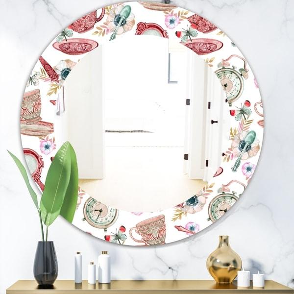 Designart 'Watercolor Tea Pattern' Modern Mirror - Oval or Round Wall Mirror - White