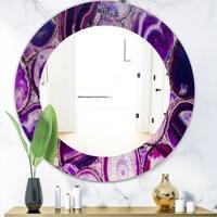 Designart 'Marbled Geode 9' Mid-Century Mirror - Oval or Round Wall Mirror - Purple