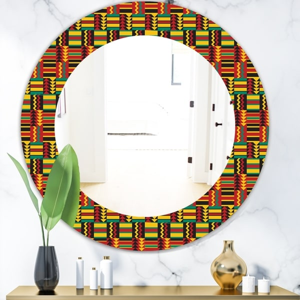 Designart 'African Pattern' Bohemian and Eclectic Mirror - Oval or Round Wall Mirror - Red
