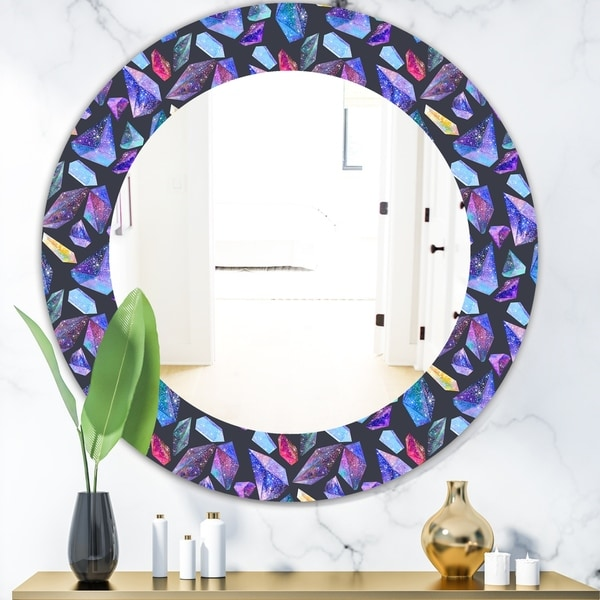 Designart 'Pattern With Watercolor Crystals With Star Sky' Modern Mirror - Oval or Round Wall Mirror - Purple