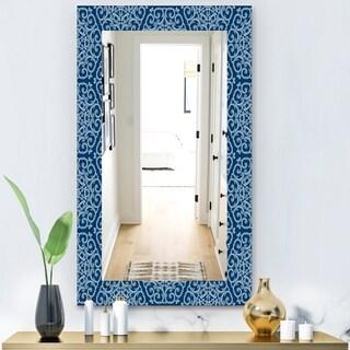 Designart 'Vintage Pattern' Modern Mirror - Wall Mirror - Blue