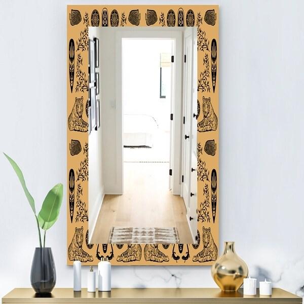 Designart 'Ethnic Mask' Bohemian and Eclectic Mirror - Wall Mirror - Orange