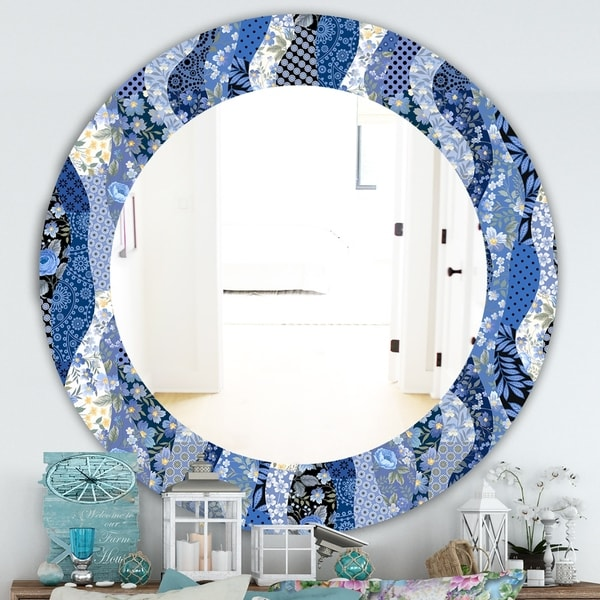 Designart 'Patchwork Pattern With Roses' Traditional Mirror - Oval or Round Wall Mirror