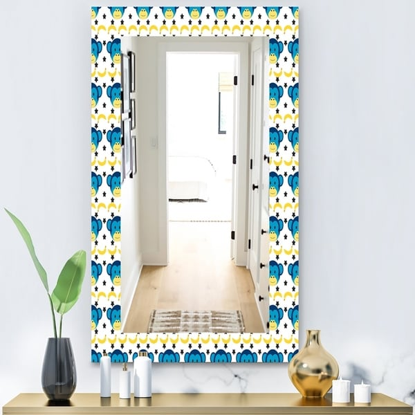 Designart 'Doodle Monkey Pattern' Bohemian and Eclectic Mirror - Vanity Mirror - Blue