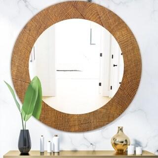 Designart 'Wood II' Mid-Century Mirror - Oval or Round Wall Mirror