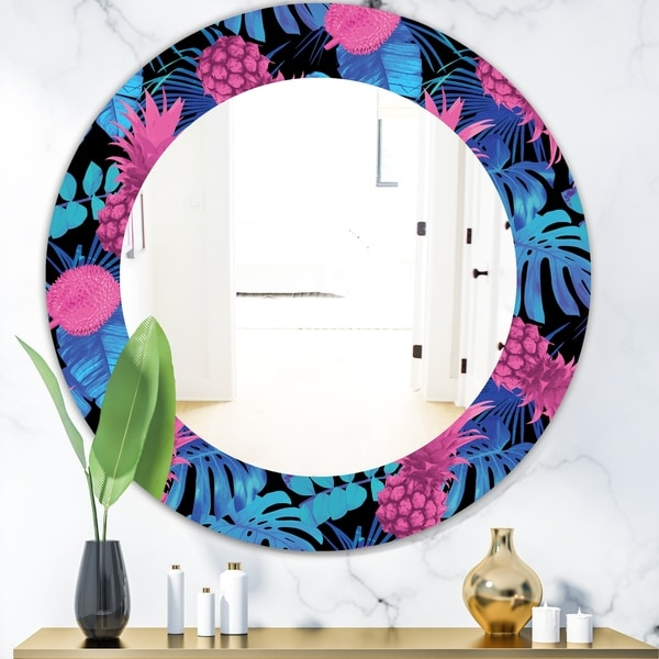 Designart 'Tropical Mood Blue 8' Bohemian and Eclectic Mirror - Oval or Round Wall Mirror - Black