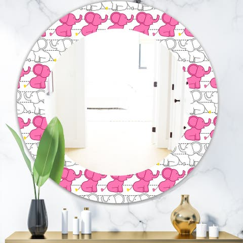 Designart 'Elephant Kids' Bohemian and Eclectic Mirror - Oval or Round Wall Mirror - Pink