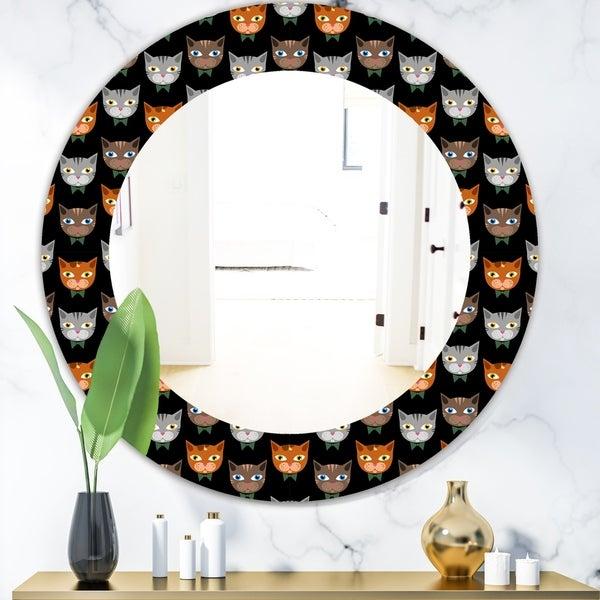 Designart 'Cute Cats Pattern' Modern Mirror - Oval or Round Wall Mirror